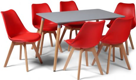 Toulouse Tulip Eiffel Designer Dining Set Grey Rectangular Table & 6 Red Chairs Sale Now On Your Price Furniture